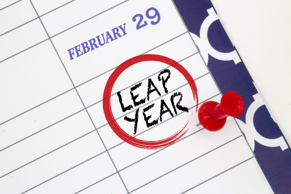 Close up a calendar on February 29 on a leap year
