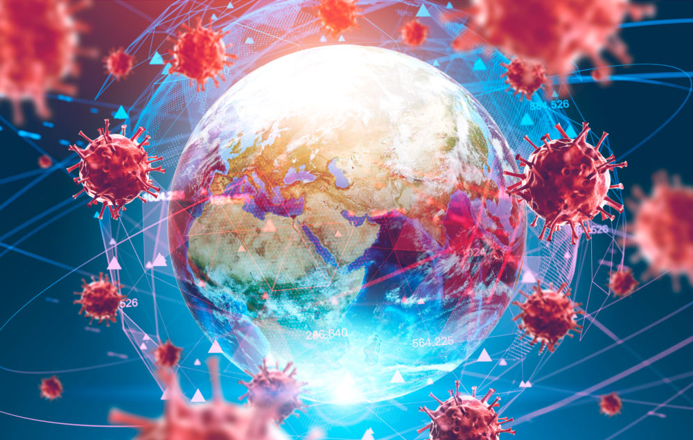Coronavirus news image of globe surrounded by viruses