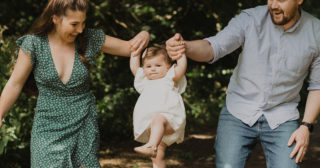 WorkClub founder Nick Donnelly and wife Tori and baby Scarlett