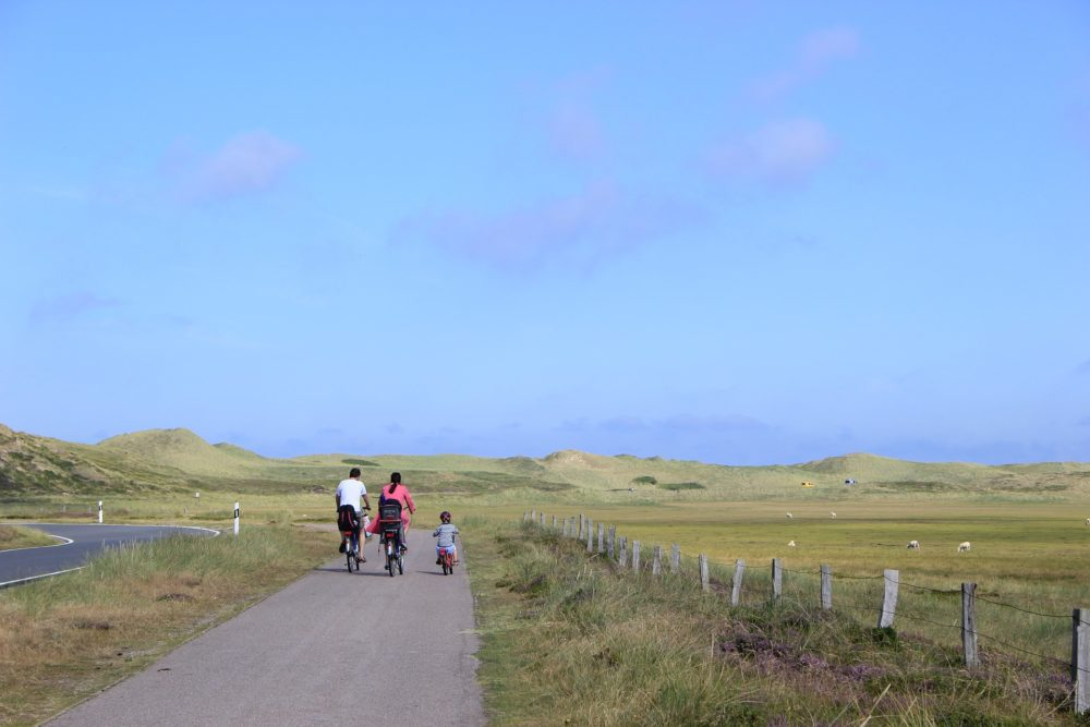 family on a cycle ride in the countryside