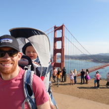 Colin Woolliscroft with son Seb at the Golden Gate bridge