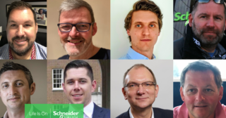 Collage of eight mens faces from schneider electric for international mens day 2020
