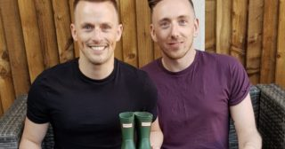 Daniel Clark-Bland and husband who took adoption leave with Aviva